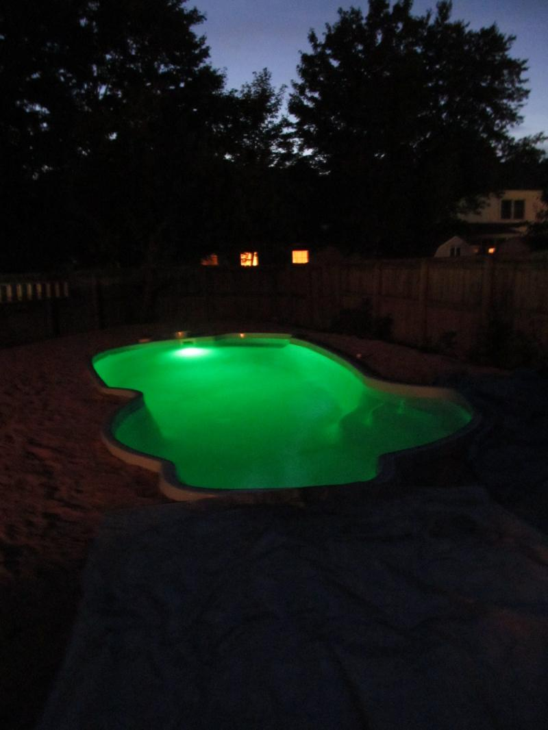 Pool light at night